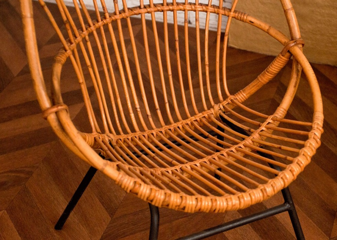 Vintage rattan chair 50s 1950 vintage rattan chairs for Chaise rotin design