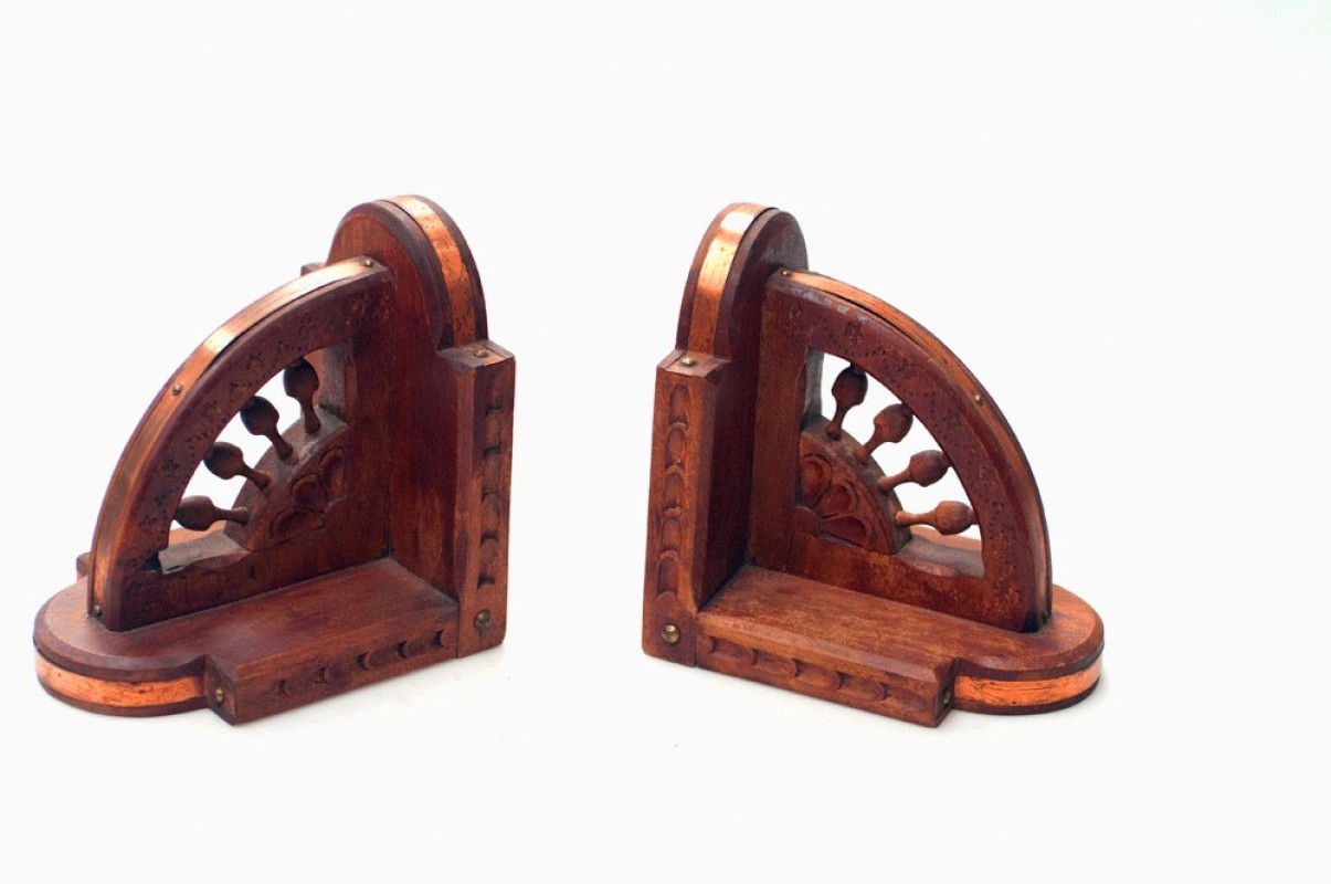 Wooden Bookends Boat Wheel Set With Copper