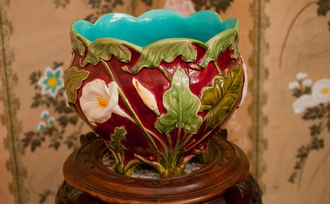 cache pot barbotine cache pot en faience barbotine 1900 ancien r tro vintage en faience. Black Bedroom Furniture Sets. Home Design Ideas