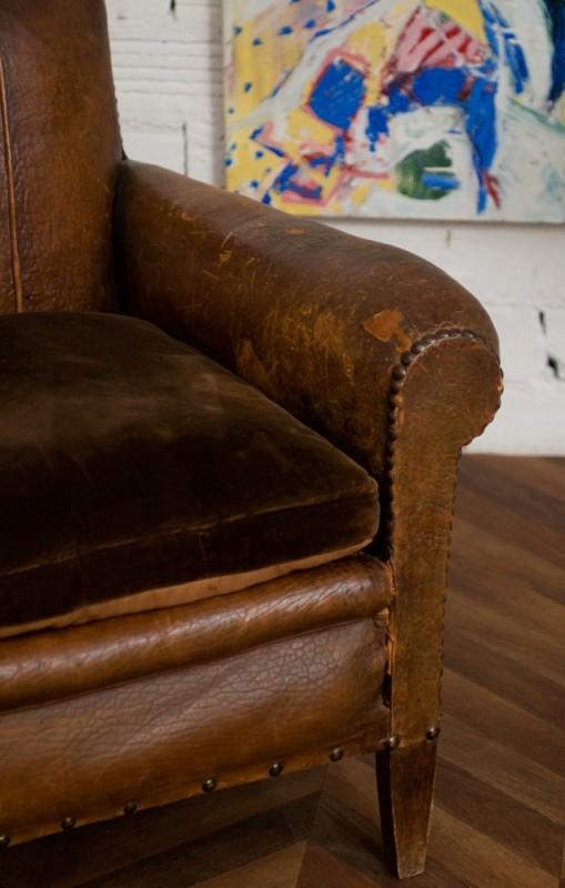 fauteuil club vintage fauteuil club ancien en cuir. Black Bedroom Furniture Sets. Home Design Ideas