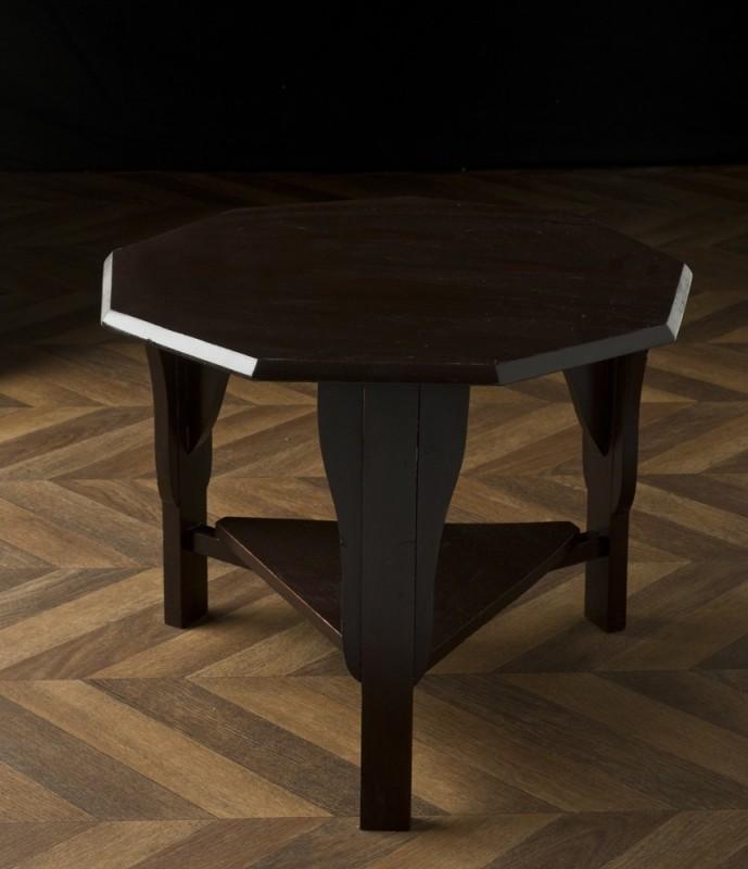 table basse vintage octogonale en pin meuble ancien unique. Black Bedroom Furniture Sets. Home Design Ideas