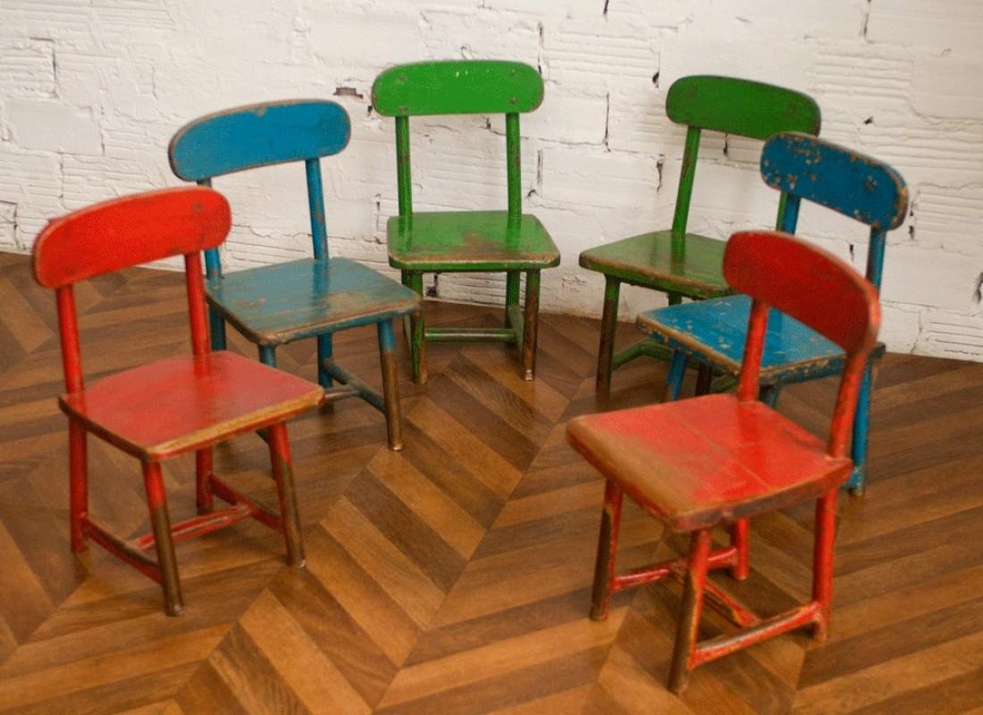 chaises vintage enfants coliers r tro ann es 40 50 bois m tal color es anciennes. Black Bedroom Furniture Sets. Home Design Ideas