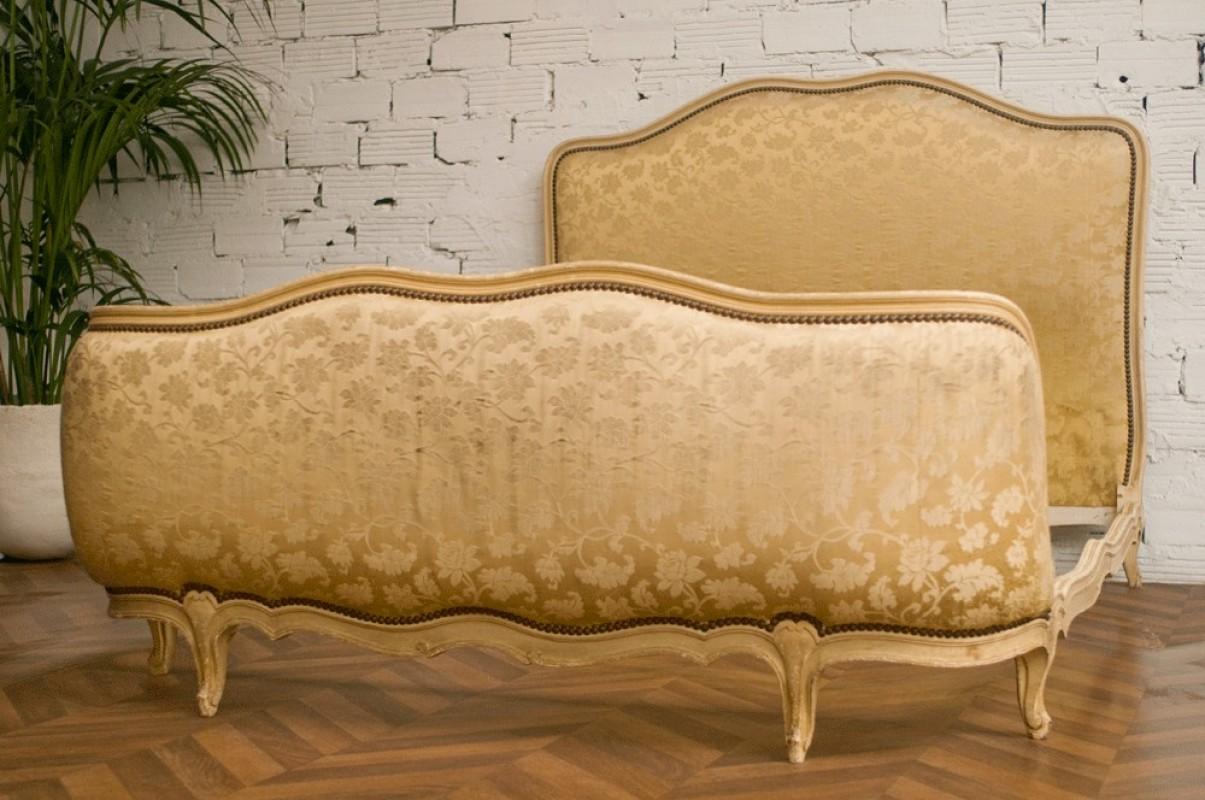 lit baroque lit corbeille ancien style baroque ann es 50 1950 satin couleur ivoire. Black Bedroom Furniture Sets. Home Design Ideas