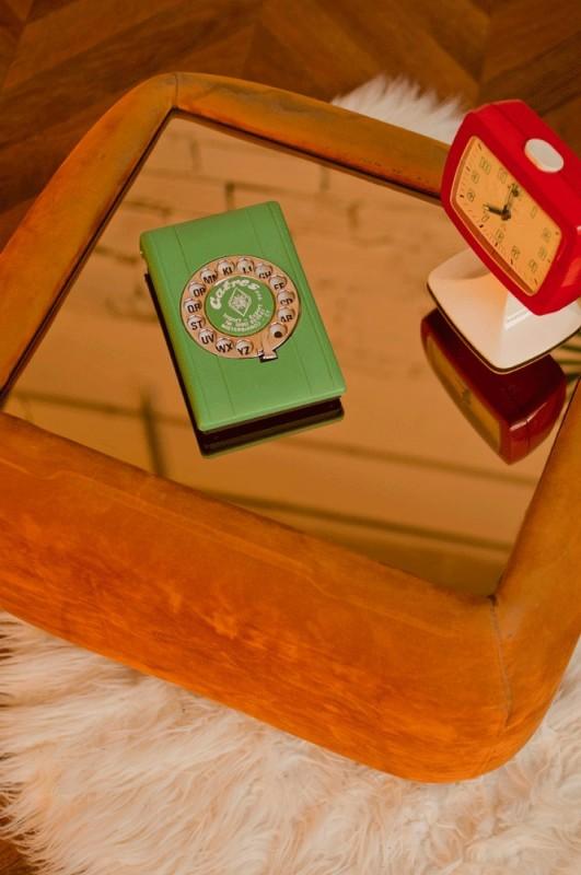 table basse desserte miroir verre vintage r tro. Black Bedroom Furniture Sets. Home Design Ideas