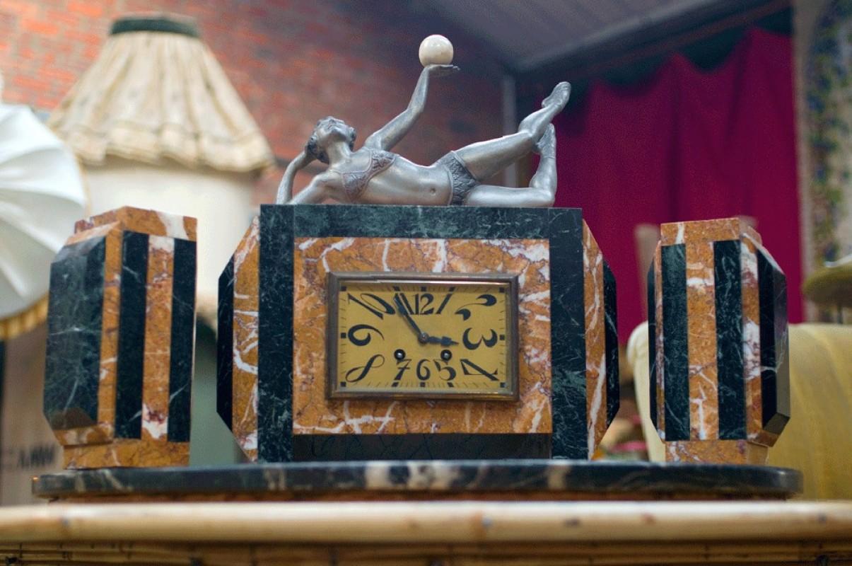 parure, garniture, horloge, cheminée, pendule, ancienne, rétro, art ...