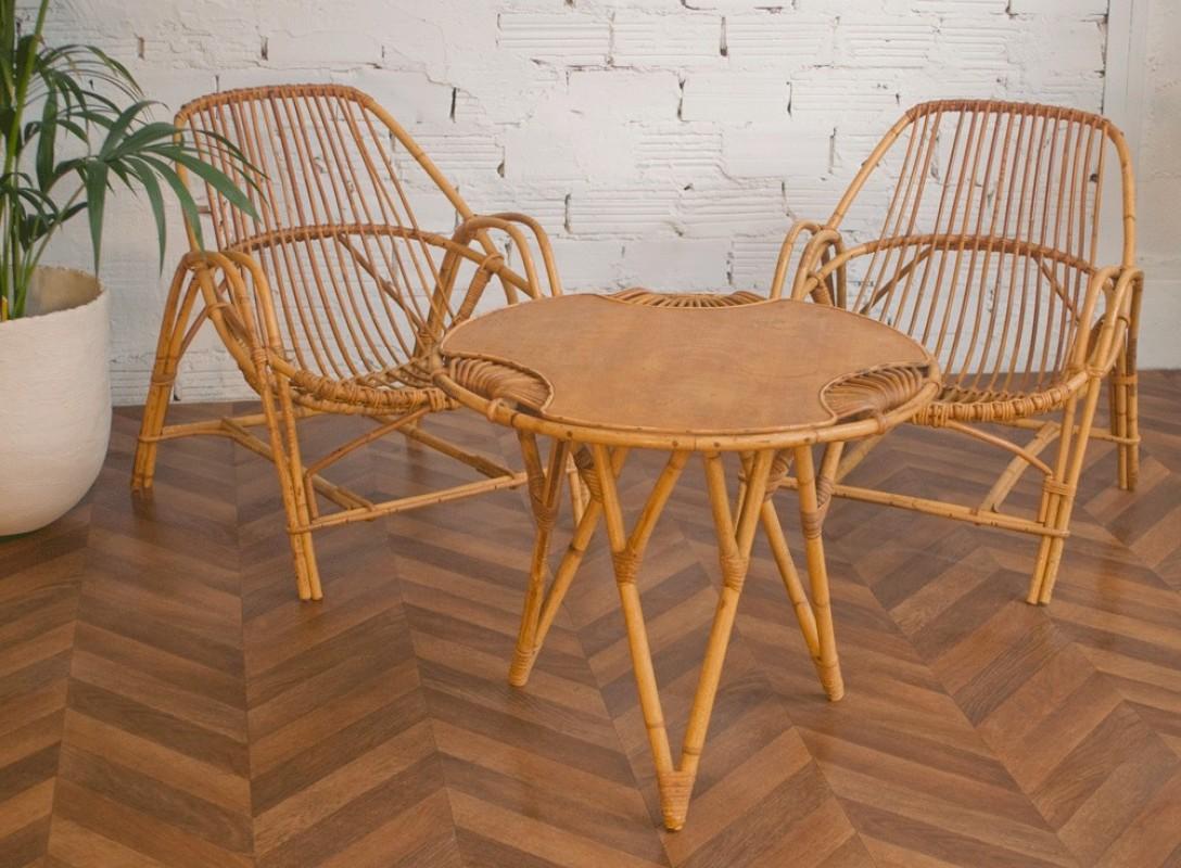rattan low armchair, rattan coffe table, rattan chair, rtro