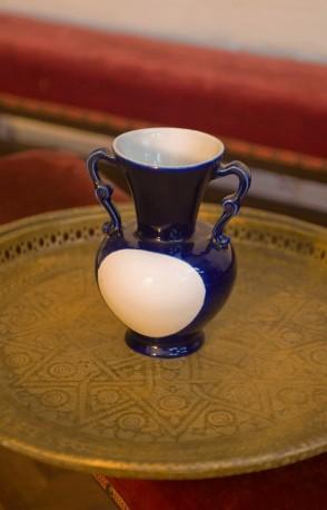 Vase bleue rétro