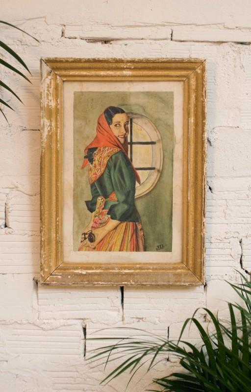 Tableau ancien r tro peinture sur toile gouache ann es 50 1950 peintur - Objets des annees 50 ...