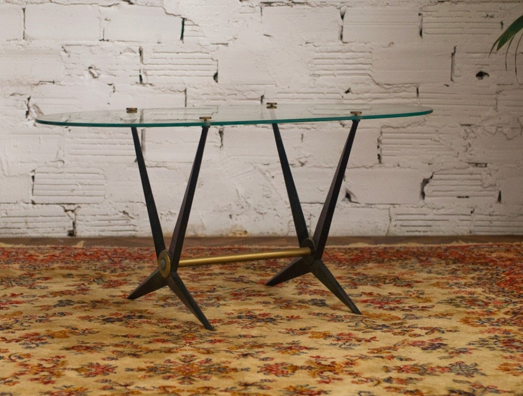50s coffee table oval glass beveled metal base black gold 50s coffee table 50s coffee table geotapseo Image collections