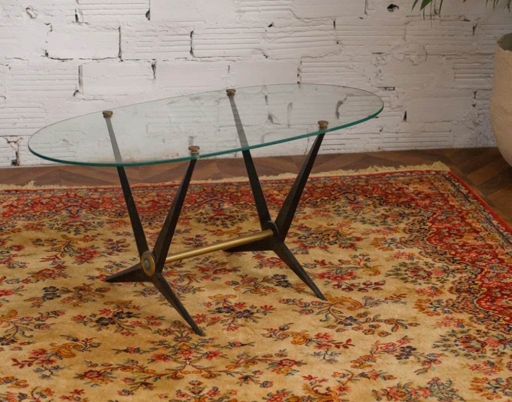 table basse vintage ann es 50 en verre m tal pi tement bisaut m tal bross noir. Black Bedroom Furniture Sets. Home Design Ideas