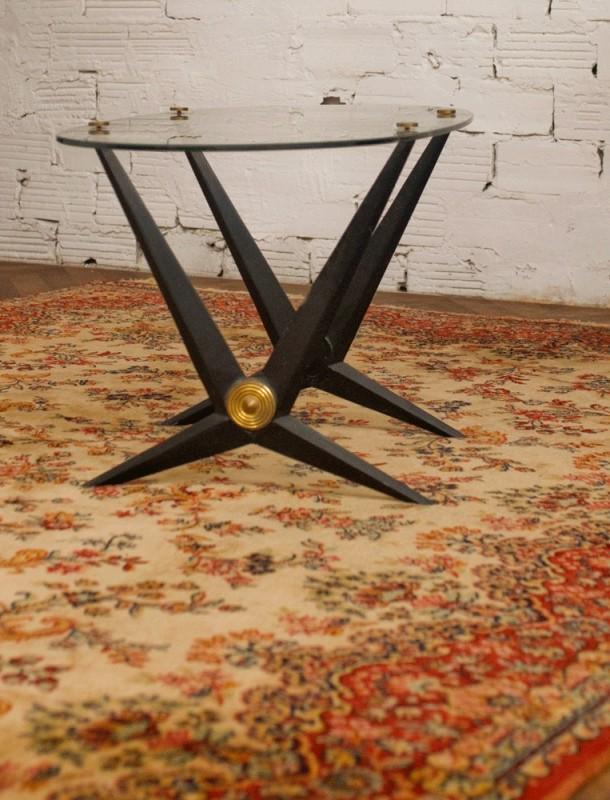 table basse vintage ann es 50 en verre m tal. Black Bedroom Furniture Sets. Home Design Ideas