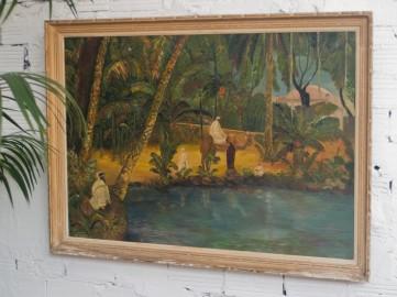 Huile sur toile Orientaliste, signée, 1962