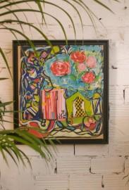 """Contemporary Oil on Paper,  """"L'échiquier"""""""