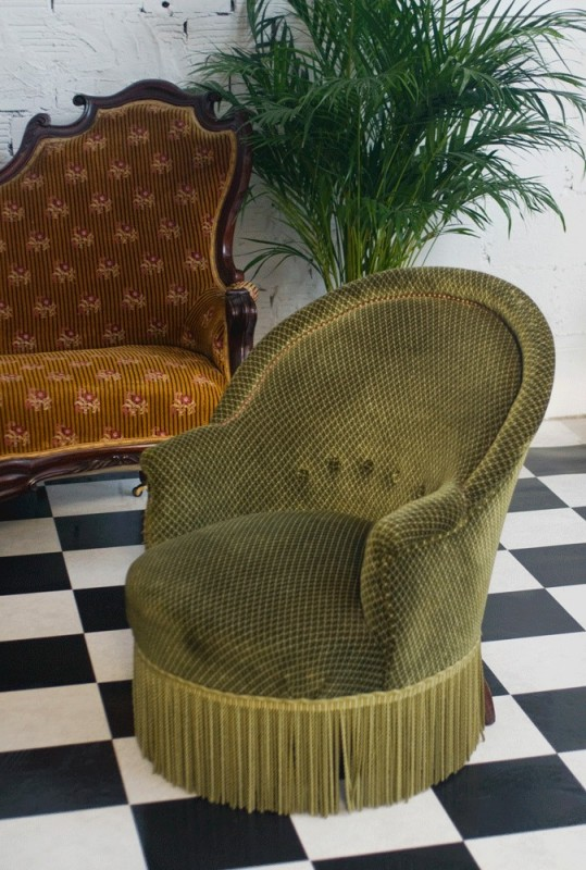 Fauteuils Crapaud Ancien Rétro Vinatge Style Luois Philippe - Ancien fauteuil crapaud
