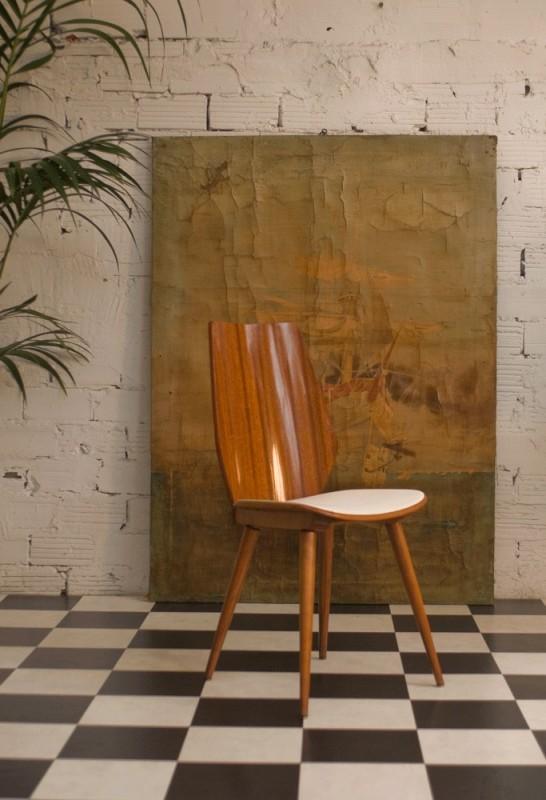 chaise vintage r tro art d co ann es 50 1950 bois. Black Bedroom Furniture Sets. Home Design Ideas