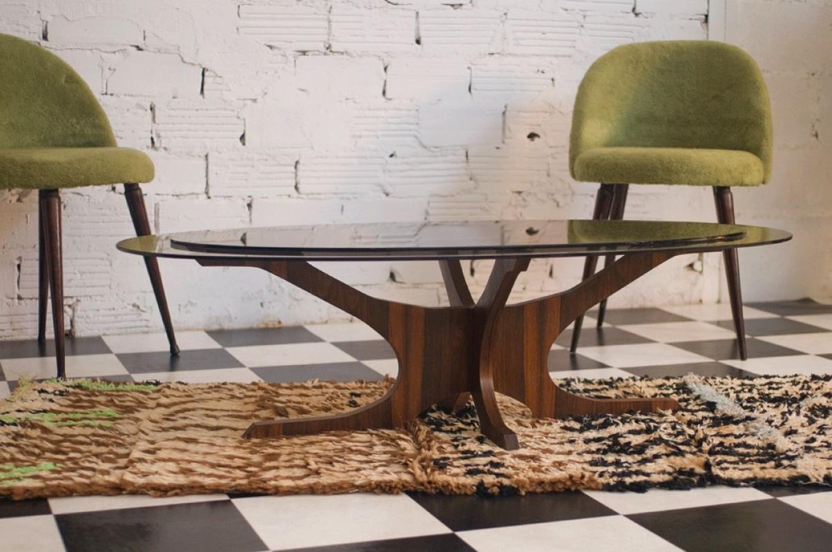 table basse vintage ann es 60 70 plateau verre verre. Black Bedroom Furniture Sets. Home Design Ideas
