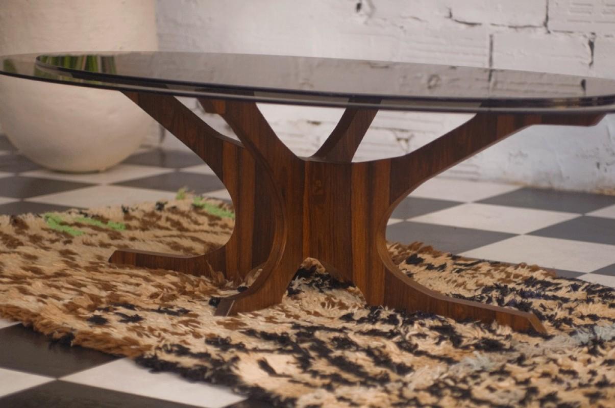 Table Basse Vintage Années 60 70 Plateau Verre Verre Teinté