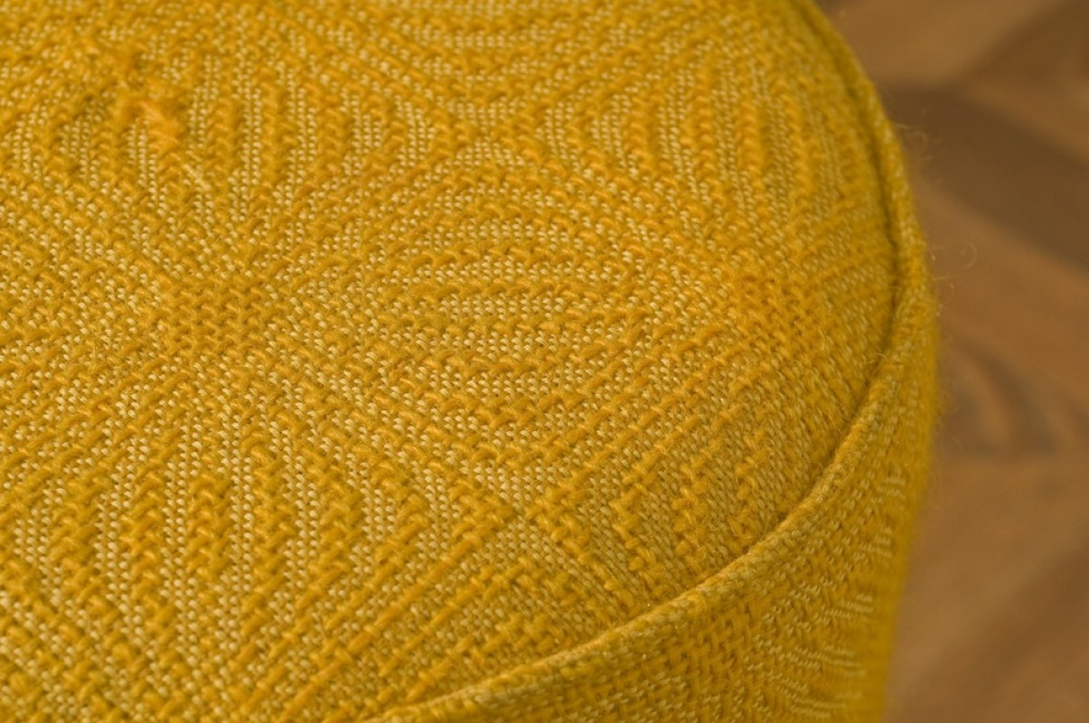 Large Stool In Yellow Wool Fabric Authentic Antique And