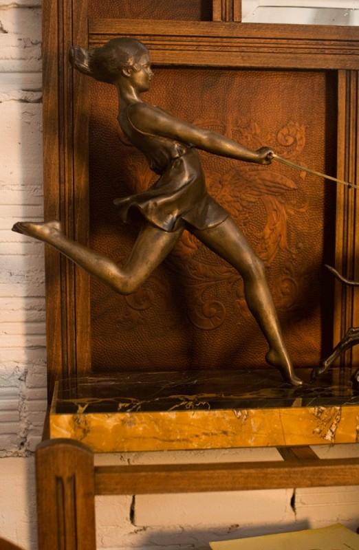 Statue Bronze Old Vintage Retro 1930 Metal Regule