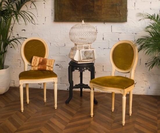 chaises style louis xvi chaise m daillon ancienne ann es 50 velours moutarde. Black Bedroom Furniture Sets. Home Design Ideas