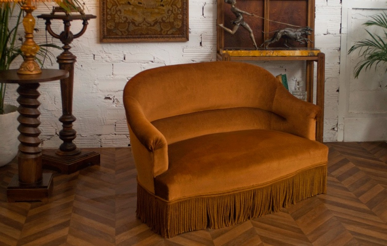 antique sofa original napoleon iii style authentic ice brown