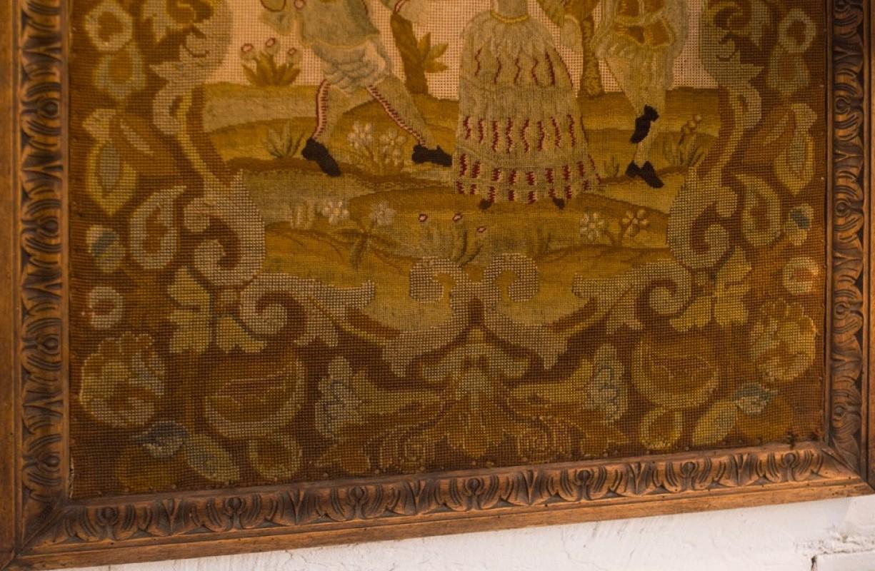 tableau tapisserie point de croix ancienne sc ne galante d but xxeme d co r tro. Black Bedroom Furniture Sets. Home Design Ideas