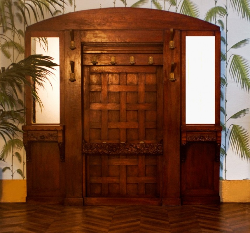 grand porte manteaux mural ancien ann es 1920 20 1930 r tro vintage. Black Bedroom Furniture Sets. Home Design Ideas