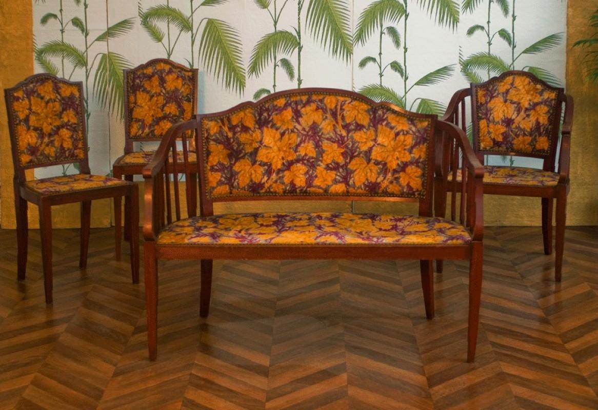 Banquette ancienne, fauteuil rétro, chaises rétro, année 1920 ...