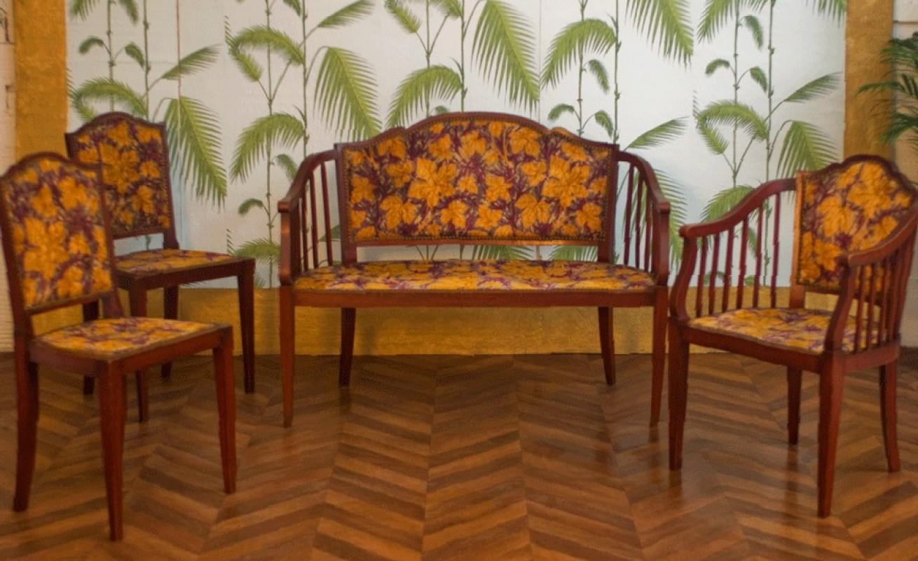 living room set vintage retro furniture velvet purple yellow color. Black Bedroom Furniture Sets. Home Design Ideas
