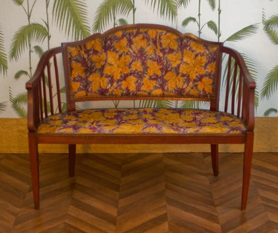 banquette ancienne fauteuil r tro chaises r tro ann e 1920 1925 velours boiserie acajou. Black Bedroom Furniture Sets. Home Design Ideas