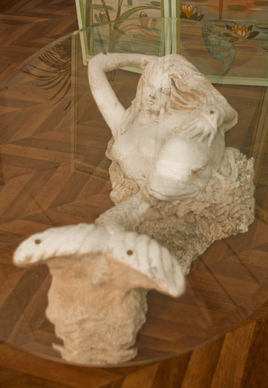 Coffee Table Sculpted Stone Mermaid Siren 70s Vintage Furniture Dolphin