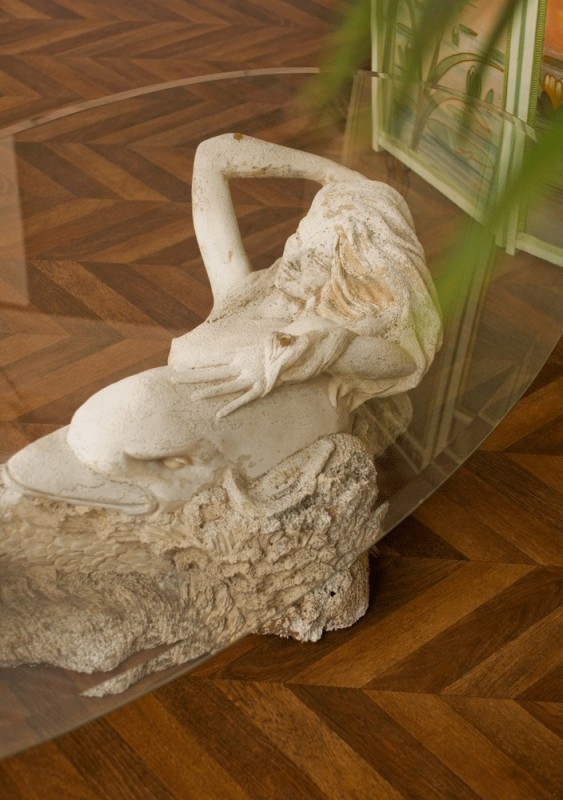 Coffee Table Sculpted Stone Mermaid Siren 70s Vintage