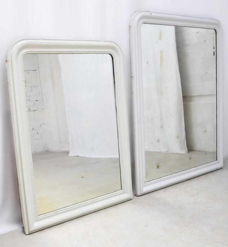 miroir miroir de chemin e ancien vintage r tro blanc 1920 napol on iii d co charme. Black Bedroom Furniture Sets. Home Design Ideas