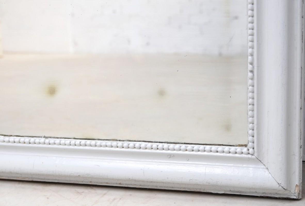 Grand miroir miroir de chemin e blanc ancien vintage for Grand miroir blanc