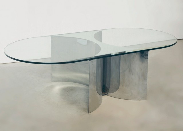 Coffee Table Vintage 70s 1970 Oval Glass Top Florence Italy