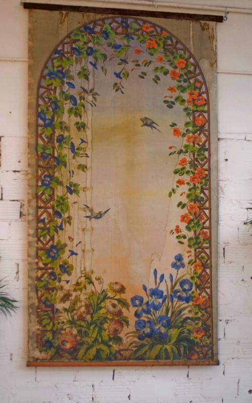 tenture ancienne panneau d coratif ancien vintage unique peinture murale 1900 1920 grande. Black Bedroom Furniture Sets. Home Design Ideas