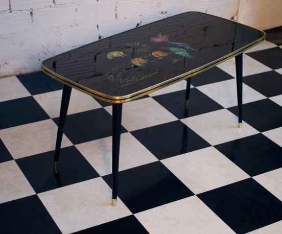 Vintage Coffee Table 50s Hand Painted Glass Top