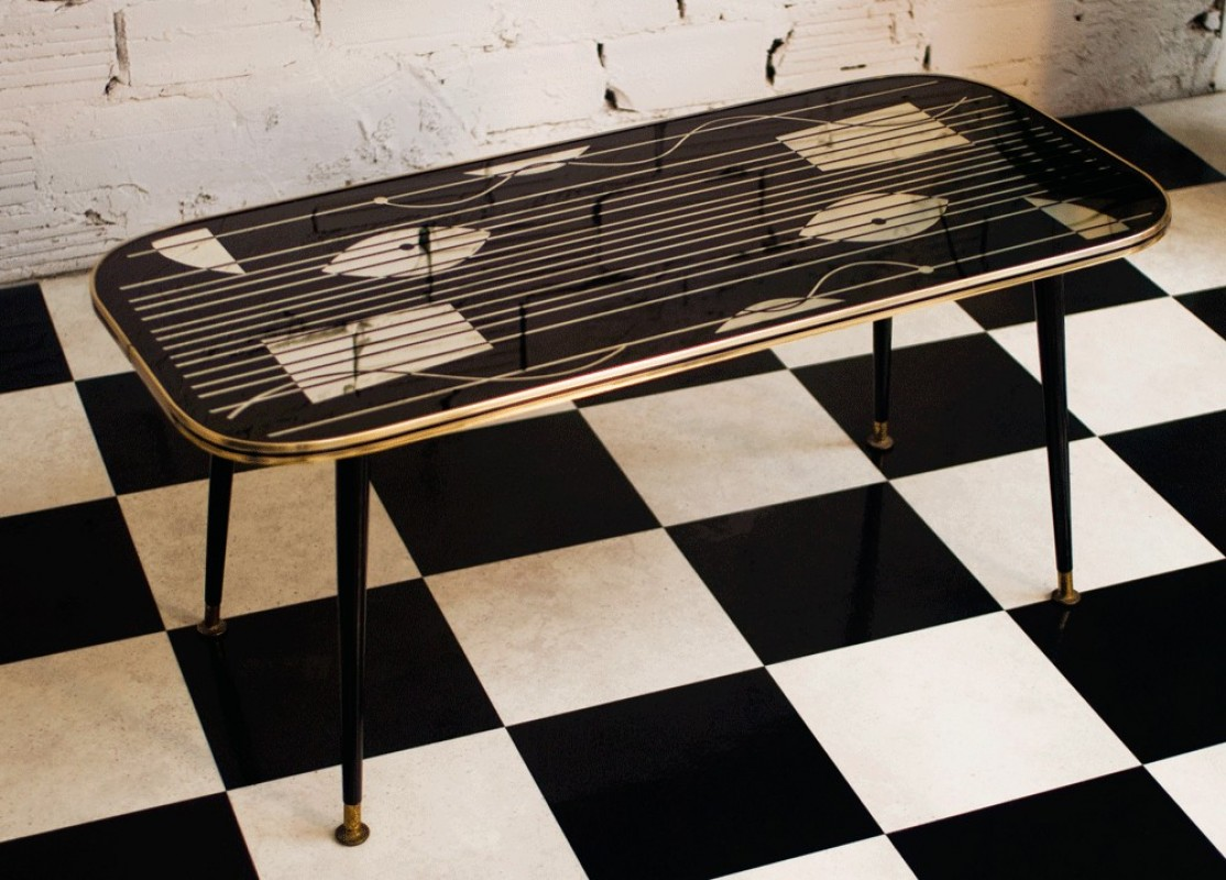 table basse vintage noire verre miroir 1950 meubles. Black Bedroom Furniture Sets. Home Design Ideas