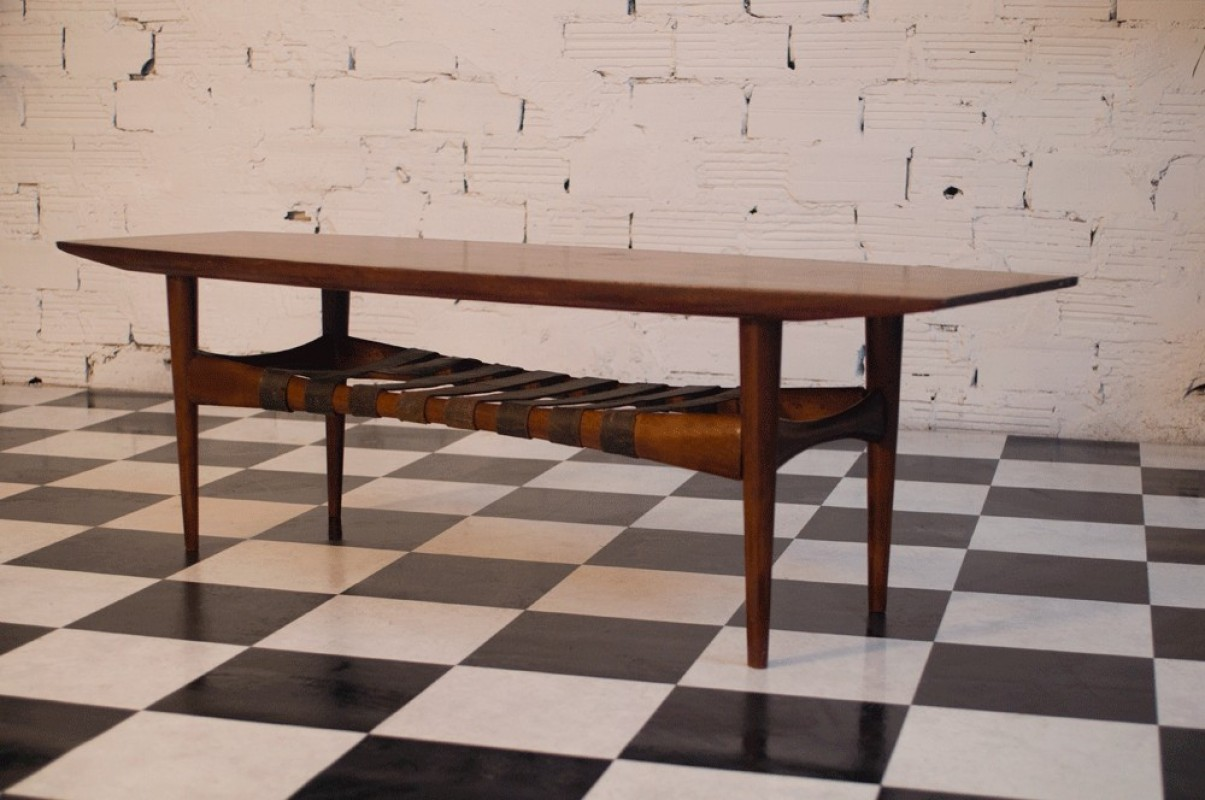 Vintage Coffee Table 50s Scandinavian Style Vintage Furniture Teak Wood Large Leather Straps