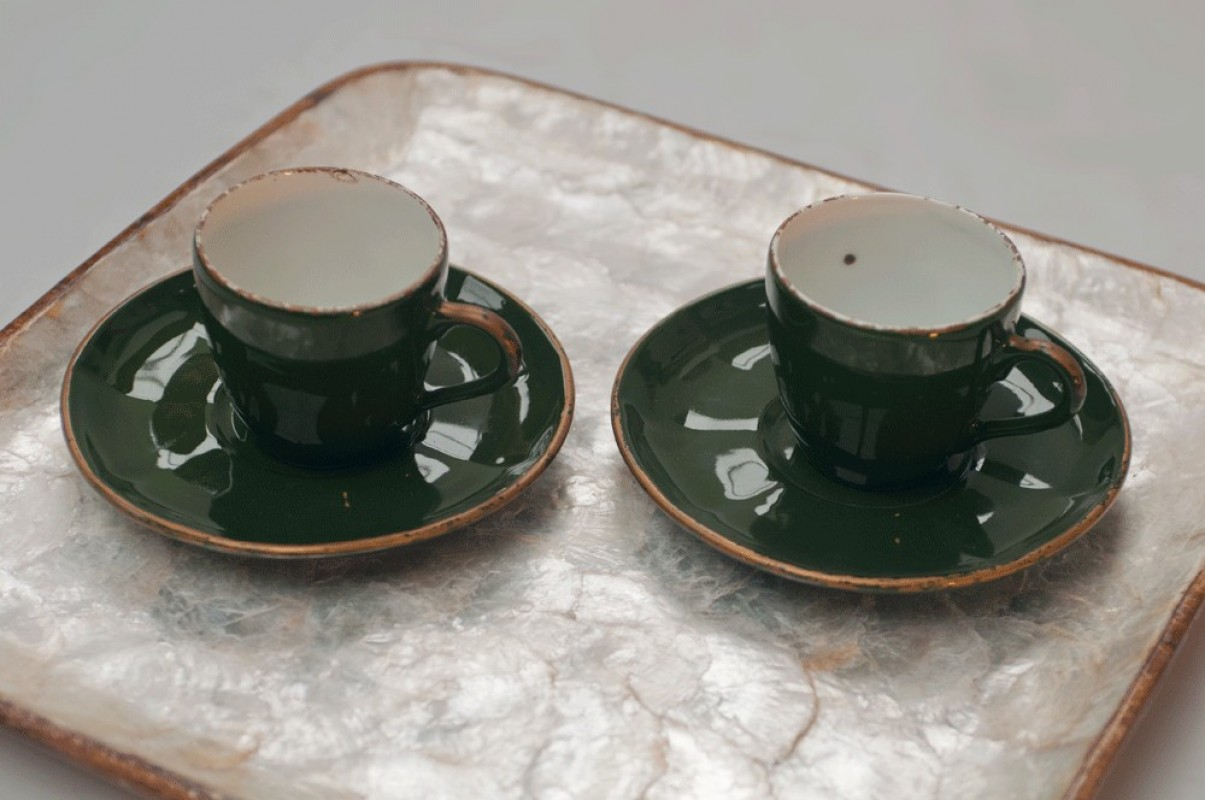 Art Deco Style Coffee Cups Vintage Retro English Green