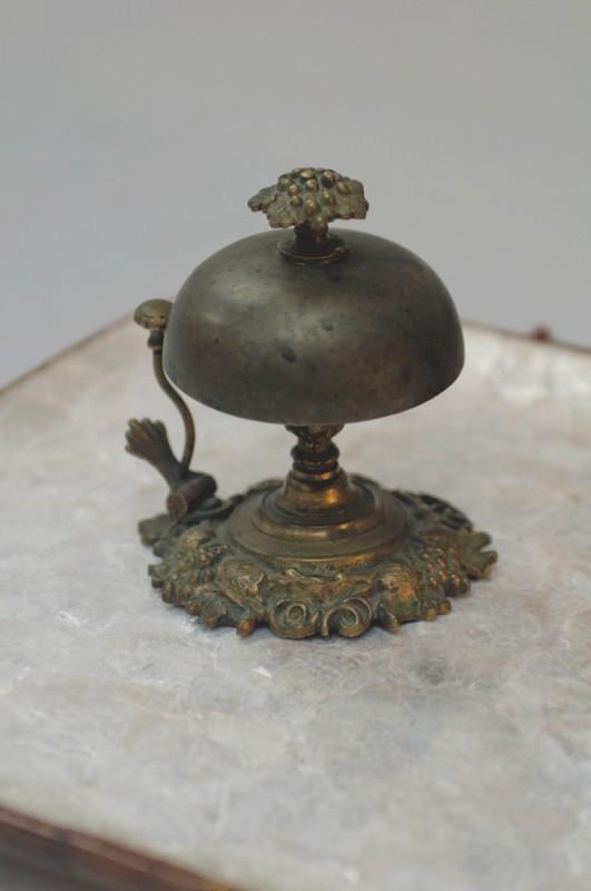 1920s Old Antique Hotel Desk Bell Ornate Brass