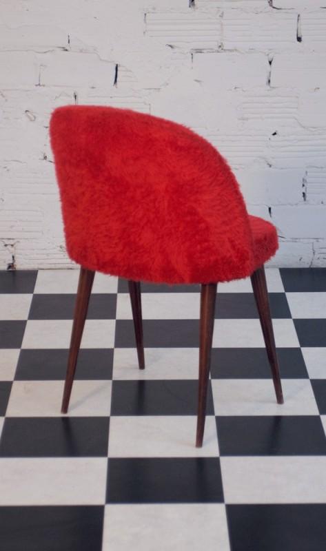 Chaise vintage fourrure fausse fourrure textile 1960 for Chaise fourrure