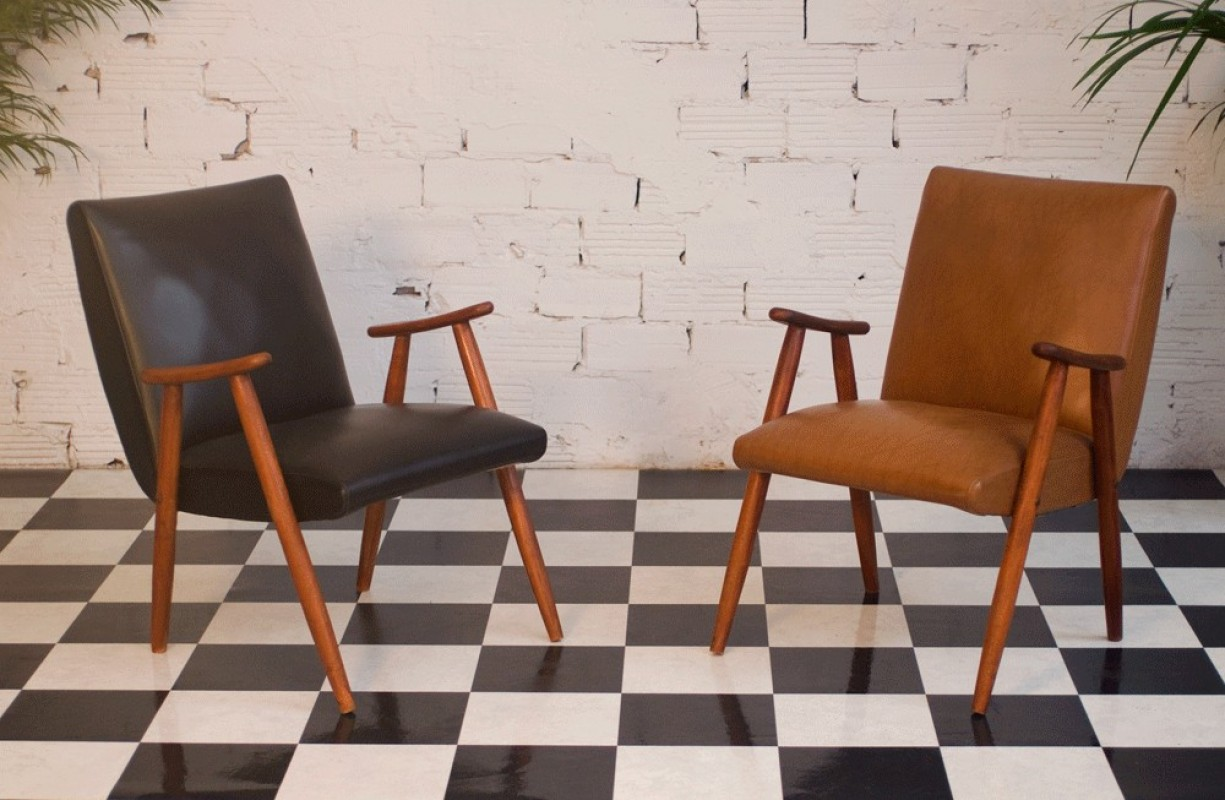 fauteuil vintage ska skai simili cuir ann es 50 1950 50s marron marron clair noir. Black Bedroom Furniture Sets. Home Design Ideas