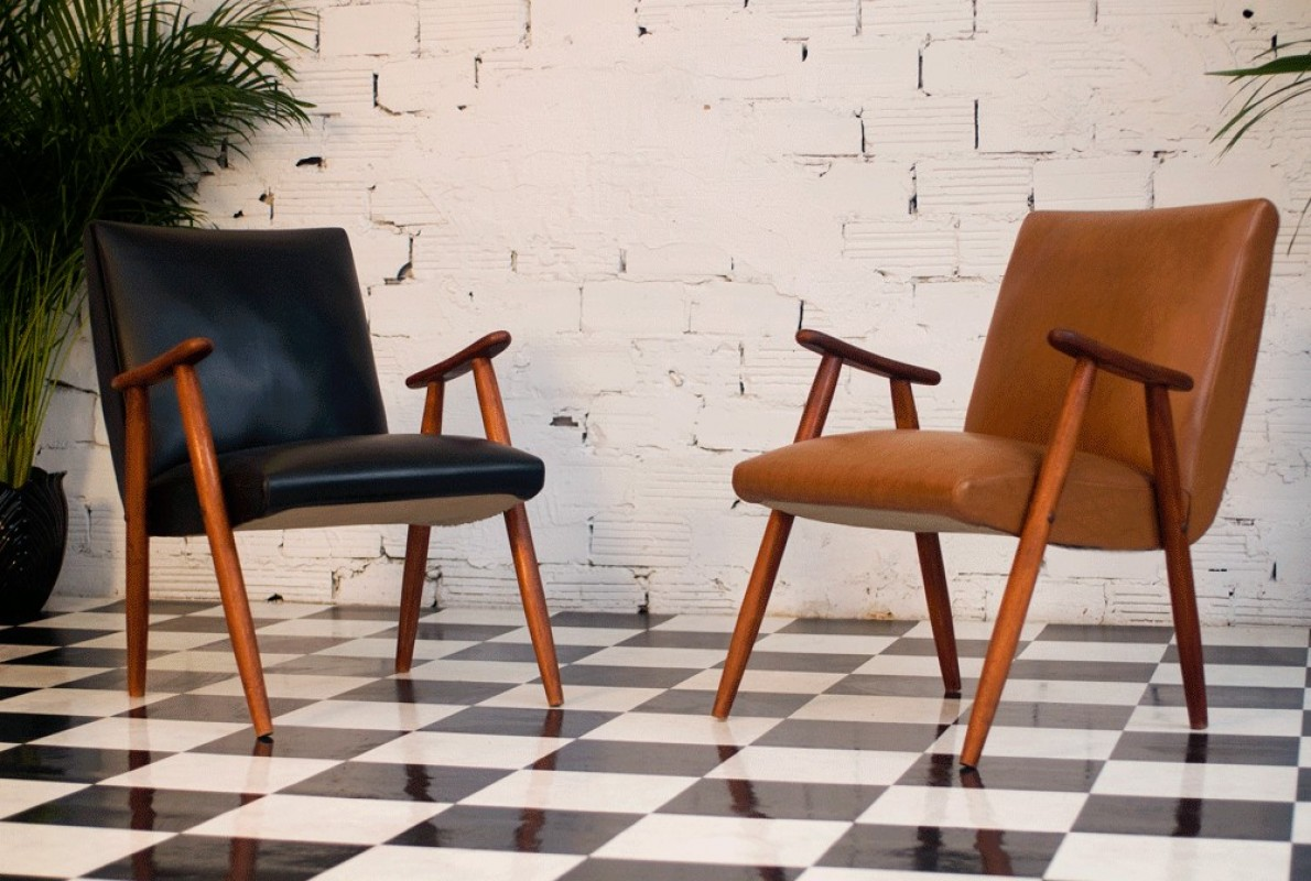 fauteuil vintage ska skai simili cuir ann es 50 1950. Black Bedroom Furniture Sets. Home Design Ideas