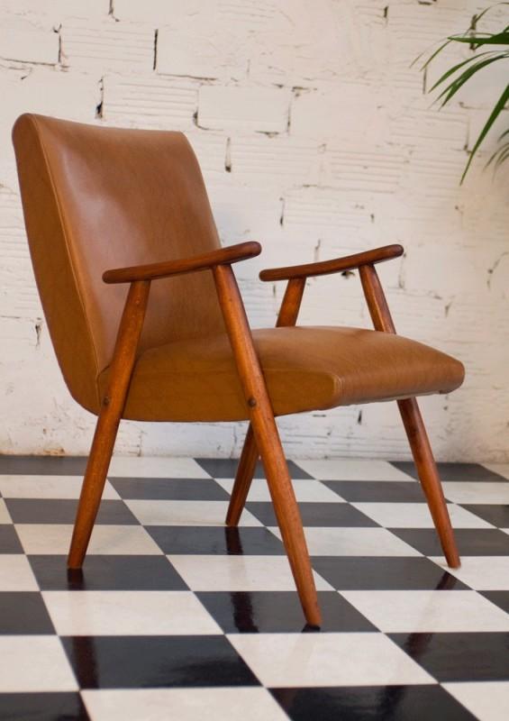 fauteuil vintage ska skai simili cuir ann es 50 1950 50s marron marron clair noir. Black Bedroom Furniture Sets. Home Design Ideas