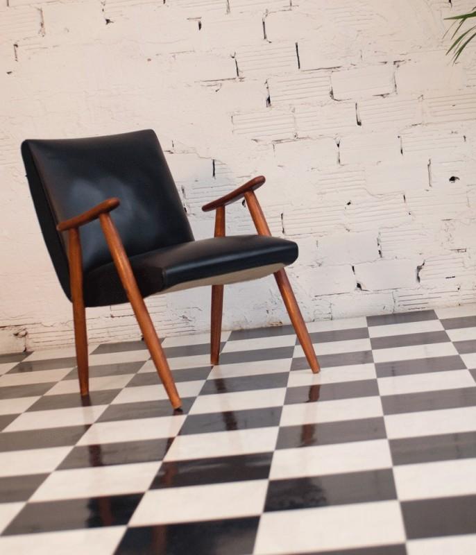 Authentic, vintage, armchair, 50s, 1950, black, leather ...
