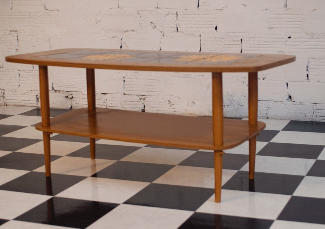 Coffee Table Vintage 60s Light Wood Color Black