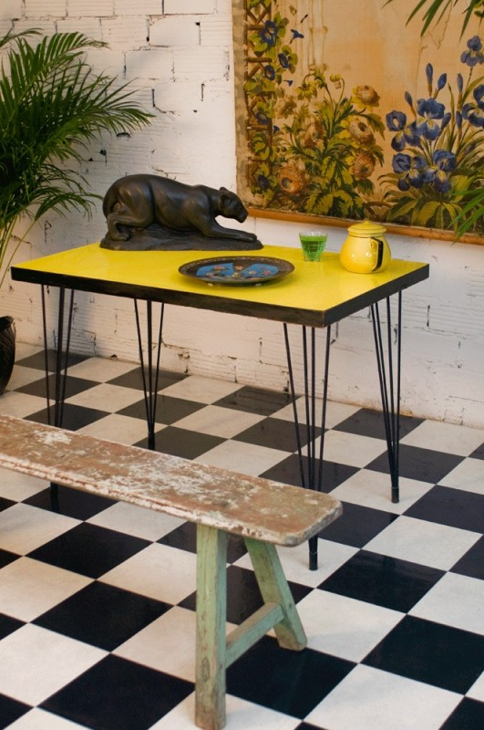 Bistro table 50s yellow formica vintage retro - Table cuisine formica annee 50 ...