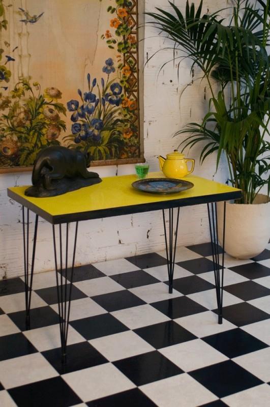 Bistro Table 50s Yellow Formica Vintage Retro