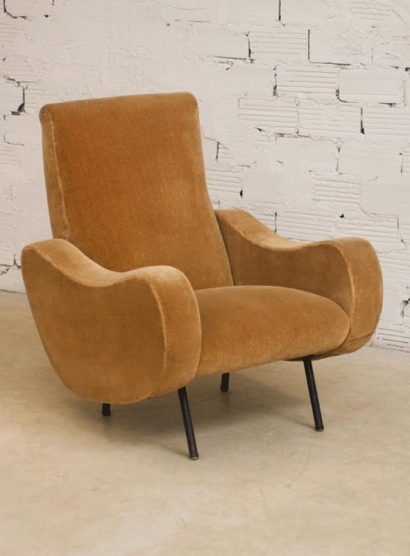 Fauteuil vintage gros ann es 50 style r tro velours beige - Gros fauteuil confortable ...
